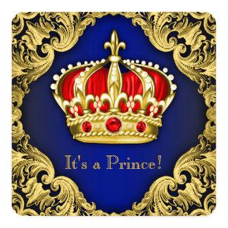 Príncipe extravagante chá de fraldas dos azuis convite quadrado 13.35 x 13.35cm