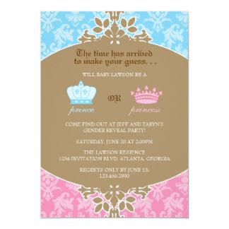 Príncipe ou princesa Damasco Género Revelação Convite 12.7 X 17.78cm