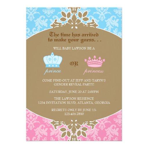 Príncipe ou princesa Damasco Género Revelação Part Convites Personalizados