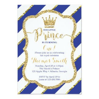 Príncipe pequeno Aniversário Convite no azul & no