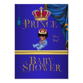 Príncipe pequeno azul Coroa 2 do menino elegante Convites Personalizados