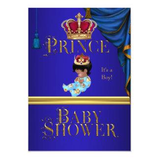 Príncipe pequeno azul Coroa 3 do menino elegante Convite