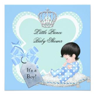 Príncipe pequeno azul Coroa do menino do chá de Convite Quadrado 13.35 X 13.35cm