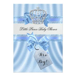 Príncipe pequeno azul Coroa do menino elegante do Convite Personalizado