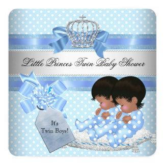 Príncipe pequeno azul Coroa dos meninos gêmeos do Convite Quadrado 13.35 X 13.35cm