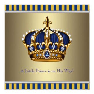 Príncipe pequeno chá de fraldas da coroa azul do convite quadrado 13.35 x 13.35cm