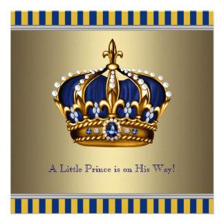 Príncipe pequeno chá de fraldas da coroa azul do o convites