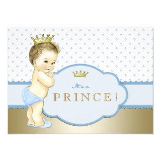 Príncipe pequeno chá de fraldas dos azuis bebés convite 13.97 x 19.05cm