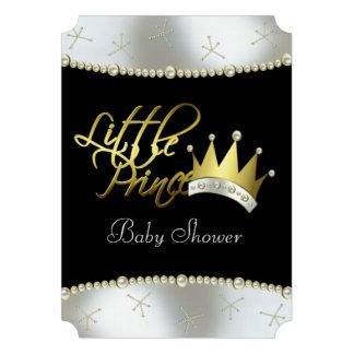 Príncipe pequeno elegante chá de fraldas do preto convite personalizado