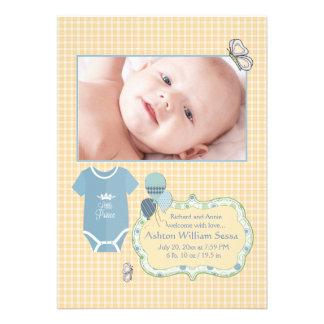 Príncipe pequeno Foto Nascimento Anúncio Convite Personalizados
