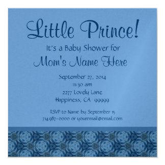 Príncipe pequeno geométrico azul chá de fraldas convite