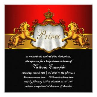 Príncipe preto e vermelho régio chá de fraldas convite personalizado