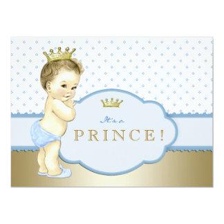 Príncipe real azul chá de fraldas convites personalizados