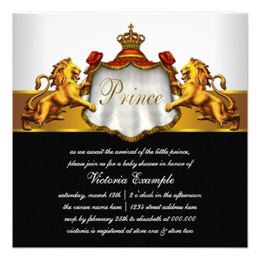 Príncipe régio chá de fraldas do vermelho e do convites personalizado