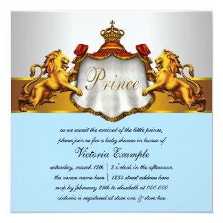 Príncipe régio chá de fraldas dos azuis bebés convite quadrado 13.35 x 13.35cm