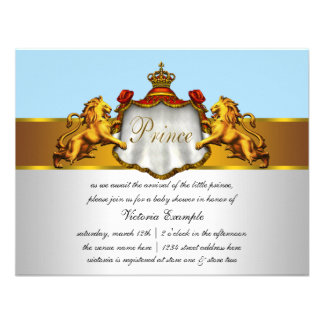 Príncipe régio chá de fraldas dos azuis bebés convites personalizado