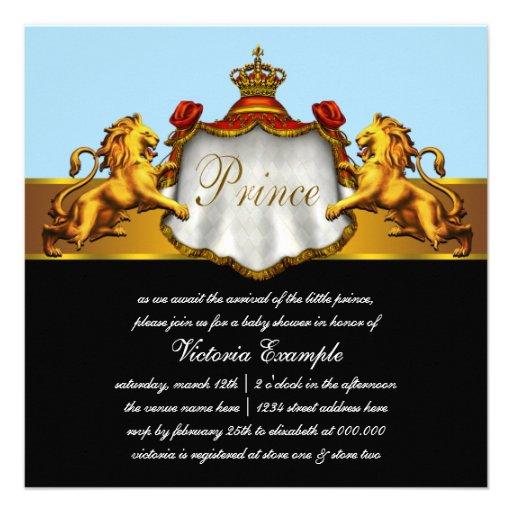 Príncipe régio chá de fraldas dos azuis bebés convite personalizado
