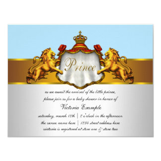 Príncipe régio chá de fraldas dos azuis bebés convite 10.79 x 13.97cm