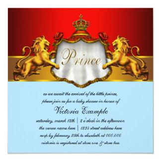 Príncipe régio chá de fraldas dos azuis bebés e do convite quadrado 13.35 x 13.35cm
