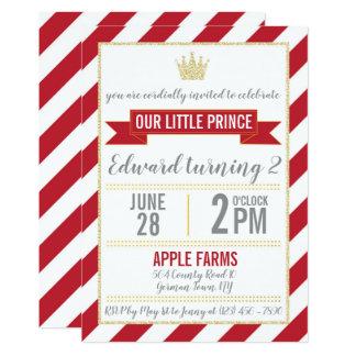 Príncipe vermelho Aniversário Convite do brilho do