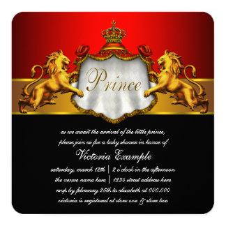 Príncipe vermelho régio chá de fraldas convite quadrado 13.35 x 13.35cm