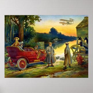 Princípio do automóvel - vintage 1910 pôster