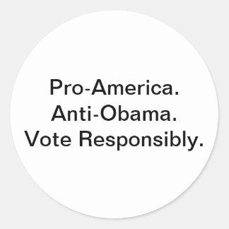 Pro América. Anti botão de Obama Adesivo