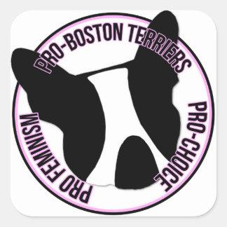 Pro terrier de Boston, pro feminismo, pro escolha Adesivo Quadrado