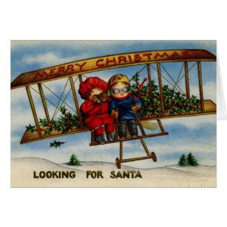 Procurando o cartão do natal vintage do papai noel