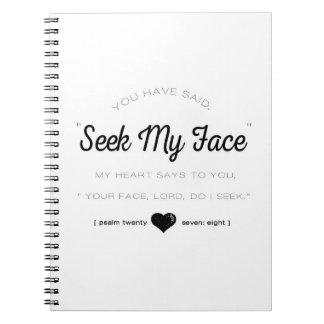 Procure minha cara, escritura do salmo cadernos espiral