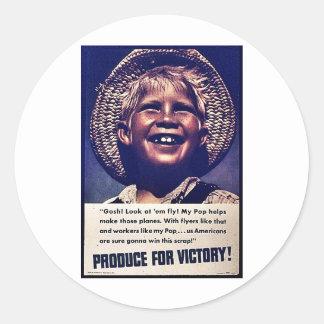 Produto para a vitória! adesivos em formato redondos