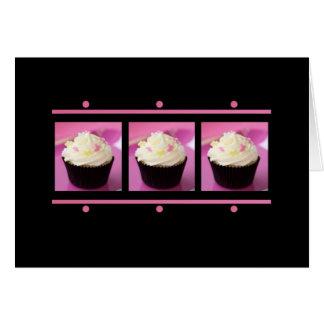 Produtos cor-de-rosa e pretos do negócio do cupcak cartao