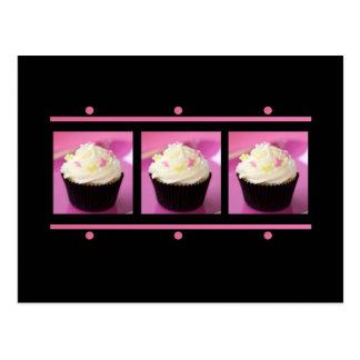 Produtos cor-de-rosa e pretos do negócio do cupcak cartoes postais