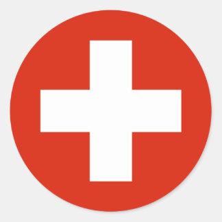 Produtos da bandeira da suiça adesivos redondos