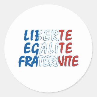 Produtos de Liberte Egalite Fraternite Adesivos Em Formato Redondos