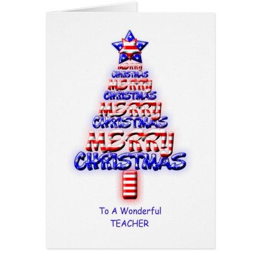 Professor, árvore de Natal patriótica Cartões