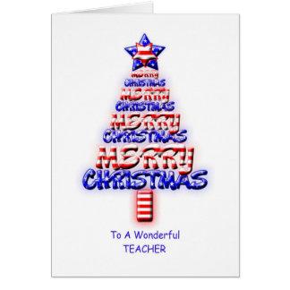 Professor, árvore de Natal patriótica Cartão Comemorativo