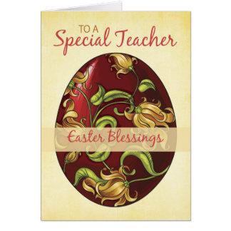 Professor, bênçãos da páscoa, ovo com lírios cartão comemorativo