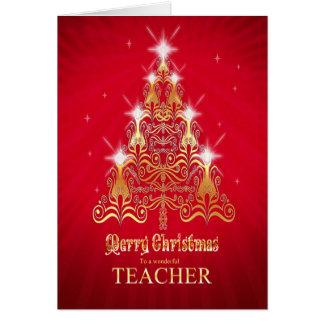 Professor, cartão de Natal da árvore de Natal