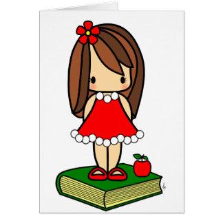 Professor de cabelo do marrom bonito do Natal Cartões