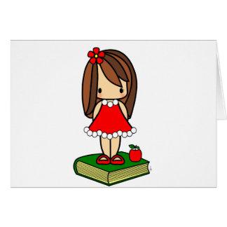Professor de cabelo do marrom bonito do Natal Cartão Comemorativo