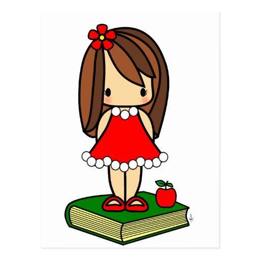 Professor de cabelo do marrom bonito do Natal Cartões Postais