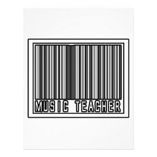 Professor de música do código de barras modelo de panfleto