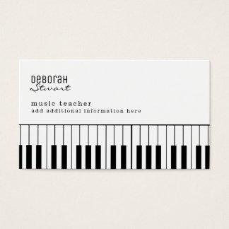 professor de música do piano elegante cartão de visitas