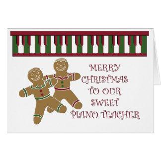 Professor de piano do Feliz Natal Cartão Comemorativo