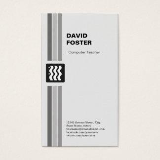 Professor do computador - branco preto moderno cartão de visitas