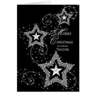 Professor do cumprimento do Natal - estrelas Cartão Comemorativo