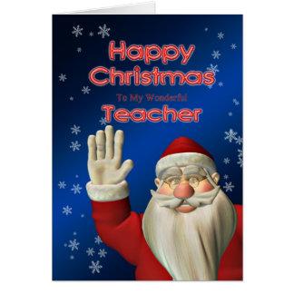 Professor do Feliz Natal, ondulação do papai noel Cartão Comemorativo