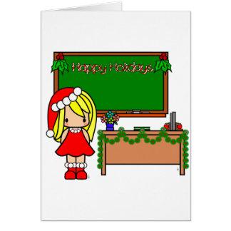Professor louro bonito do Natal Cartão Comemorativo