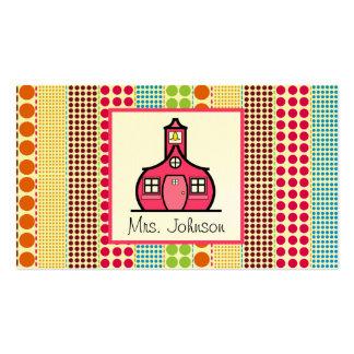 Professor multicolorido das bolinhas da escola cartão de visita